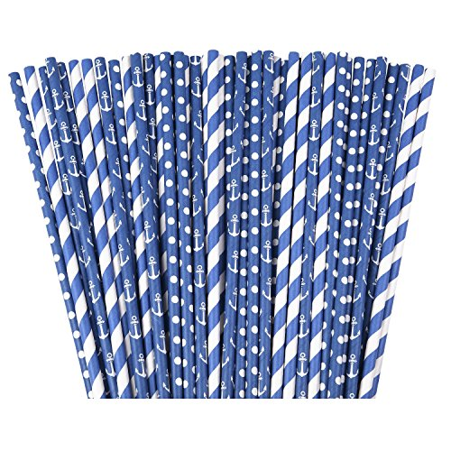 Navy Nautical Paper Straws - 75 pack of 100% Biodegradable Paper Straws for Baby or Bridal Showers Decor, Birthdays, Weddings, & Bachelorettes Parties - Summer Theme Backyard Party Decoration Ideas