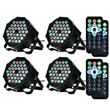 LUNSY DJ Par Lights, 36LEDs Stage Lighting Controlled by Remoter and DMX Control - 4 Pack (Color: 4 Pack)