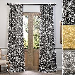 Half Price Drapes PRCT-D12A-84 Zambia Ebony Printed Cotton Curtain, 50\