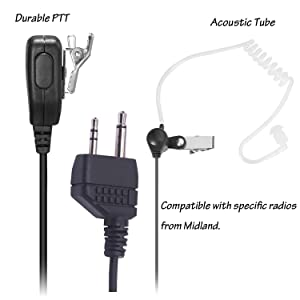Arama Covert Air Acoustic Tube MIC PTT Headset Earpiece For Midland GMRS FRS Radios (Color: L3)