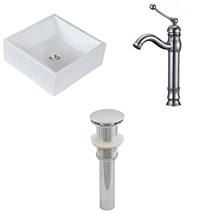"American Imaginations AI-15396 Square Vessel Set with Deck Mount CUPC Faucet and Drain, 15"" x 15"", White"