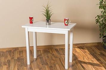 Tisch 50x90 cm Kiefer massiv, Farbe: Weiß