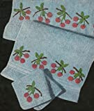 CROCHETED CHERRY BATHROOM or KITCHEN TOWELS - Crochet embellishment patterns for bath towel, hand towel & washcloth. Vintage 1950. (Bathroom Beauties - ... Guest Towels, Face Cloths. Book 265)