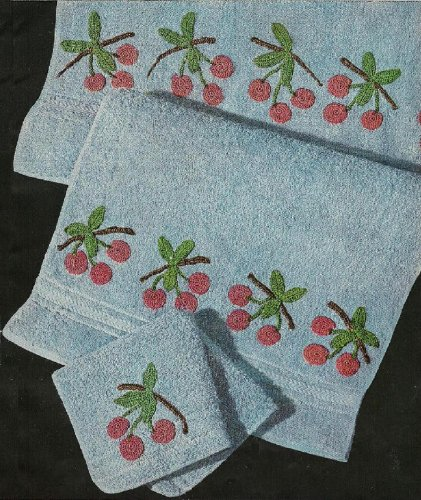 CROCHETED CHERRY BATHROOM or KITCHEN TOWELS - Crochet embellishment patterns for bath towel, hand towel & washcloth. Vintage 1950. (Bathroom Beauties - ... for Bath Towels, Guest Towels, Face Cloths.)