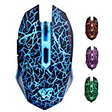 ShiRui L6 Rechargeable Noiseless Quiet 2.4GHz Wireless Optical Gaming Mouse with 7 Colors Breathing Lights, 6 Buttons with 2400/1600/800DPI (Black)