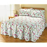 The Bettersleep Company Traditional Quilted Fitted Bedspread & Pillowsham Set Cottage Garden (Double)