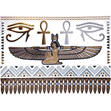buy Cokohappy Metallic Temporary Tattoos , Bling Silver Gold Egyptian Cleopatra Ankh Cross Eye Of Horus Bracelets Necklace Armbands Ring Wrist Fake Jewelry Tattoos,Sexy Body Art Long Lasting For Men Women