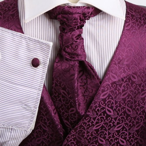 VS2008 Purple Patterned Xmas Gift Vests Cufflinks Hanky Ascot Tie By Y&G