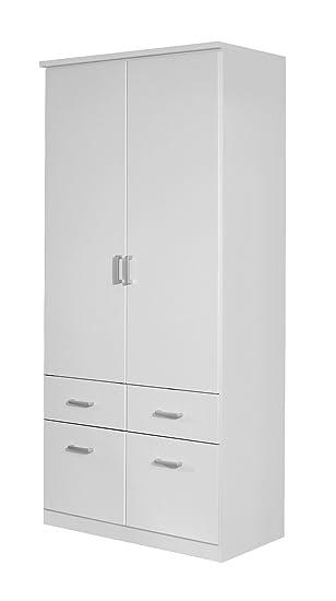 Rauch Kleiderschrank 2-turig Weiß mit Schubladen, BxHxT 91x199x56 cm