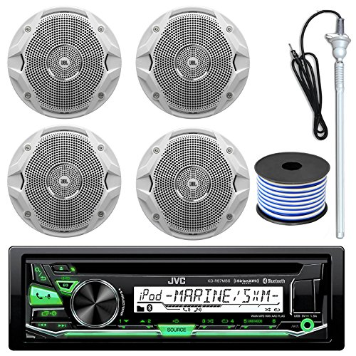 Click to buy JVC KD-R97MBS MP3/USB/AUX Bluetooth Marine Boat Yacht Stereo Receiver CD Player Bundle Combo With 4 (2 Pairs) JBL MS6510 150 Watt 6.5