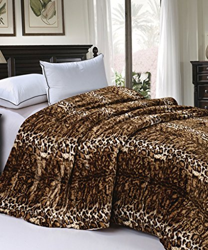 BOON Soft and Thick Faux Fur Sherpa Backing Bed Blanket, ML Leopard, 84
