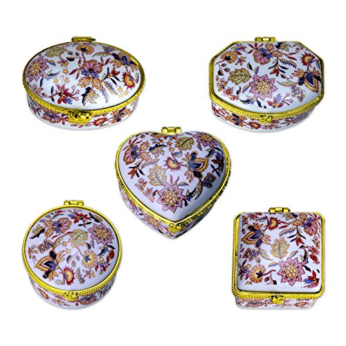 TransSino Treasures Porcelain Hinged Boxes with Flower and Leaf Graphics in White Set of 5