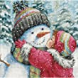 Gold Petites A Kiss For Snowman Counted Cross Stitch Kit-6''X6'' 18 Count
