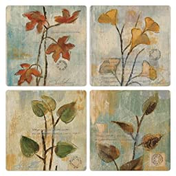 CoasterStone AS2140 Poetic Branches Absorbent Coasters, 4-1/4-Inch, Set of 4