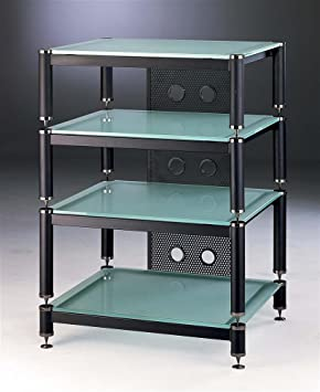 BLG 3-Shelf Amp Stand/Audio Rack Glass Color: Frosted, Cap Color: Black, Poles Color: Black
