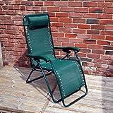 Home & Garden Direct Garden Patio Textoline Lounger Chair Headrest Green