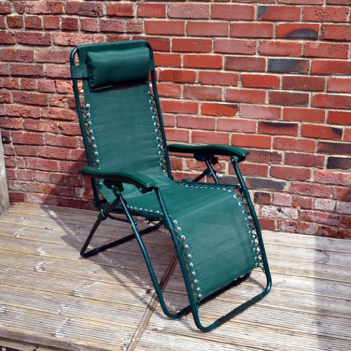 Home & Garden Direct Garden Patio Textoline Lounger Chair Headrest Green