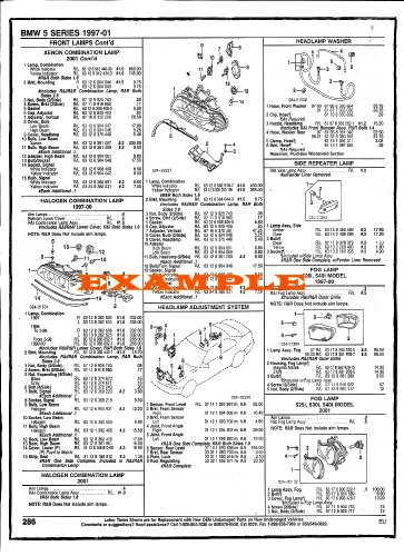 1990 - 1995 Nissan 300Zx Part Numbers, Labor & Price Illustrated Sheets