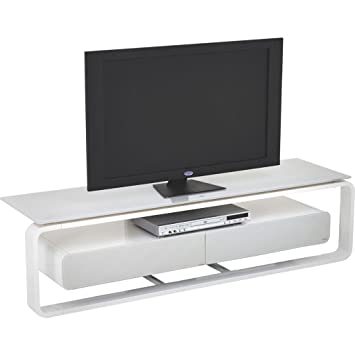 Maja Möbel TV-Rack Wörnitz, ca. 150x39x42 cm weiß/Glas grau