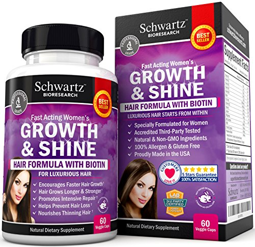 Hair Growth Vitamins with Biotin. Exclusive Hair Growth Product for Women for Longer, Stronger, Silky & Soft Hair. Visible results...
