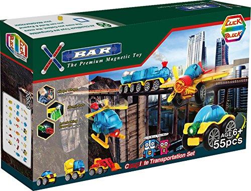 X-Bar Premium Magnetic Construction Toy-55 Piece Complete Transportation Set