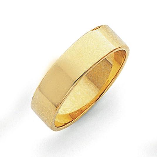 14ct 6mm Flat Wedding Band Ring - Size V 1/2