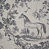 100 Linen Fabric Equestrian Horse Print The Noble Horse in traditional Toile de Jouy style greys on soft cream white pure linen cloth French Designer Fabric 140cm Wide sold by the metre