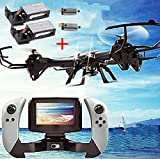 CreaTion® U818S Large 6-Axis Gyroscope RC Quadcopter Drone Black Color with FPV Camera & WIFI-818 Real-Time FPV Remote Control ( 2 extra motors and 2 extra batteries)