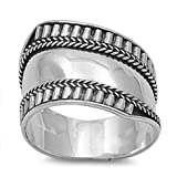 Sterling Silver Women's Bali Ring Wide 925 Band Rope Groove Design Size 6