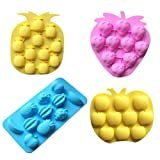 YunKo 4 Pack Fruits Pineapple Strawberry Apple Grape Ice Cube Tray Silicone Molds Fondant Cake Decoration Mold (Color: Multicolor, Tamaño: 4 Fruits)