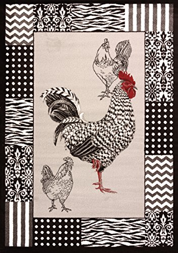United Weavers of America Cristall Collection Black and White Rooster Rug, Grey, 5' 3