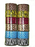 "Bazic 1.88"" X 5 Yard Safari/Animal Print Duct Tape, Assorted Colors, 12 Rolls"