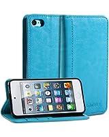 iPod 5 Coque, GMYLE(R) Pochette Etui Simple pour iPod Touch 5 - Sarcelle PU Cuir Étui Flip Cover Housse