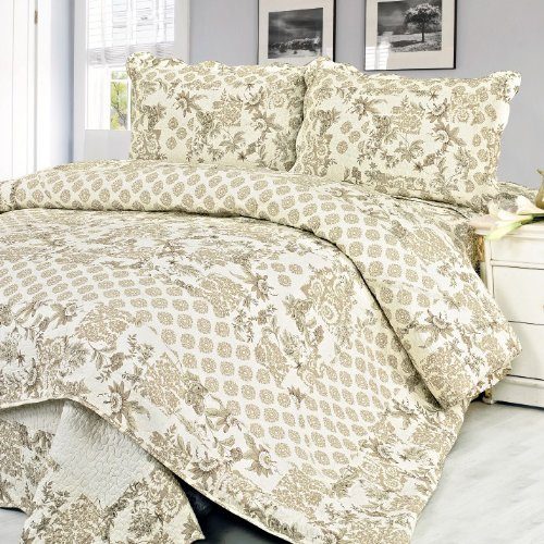 [Feronia] 100% Cotton 3PC Floral Vermicelli-Quilted Patchwork Quilt Set (Full/Queen Size)