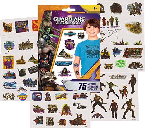 Guardians of the Galaxy Temporary Tattoos - 75 Tattoos - Star-Lord, Groot, Rocket, Gamora, Drax and more!