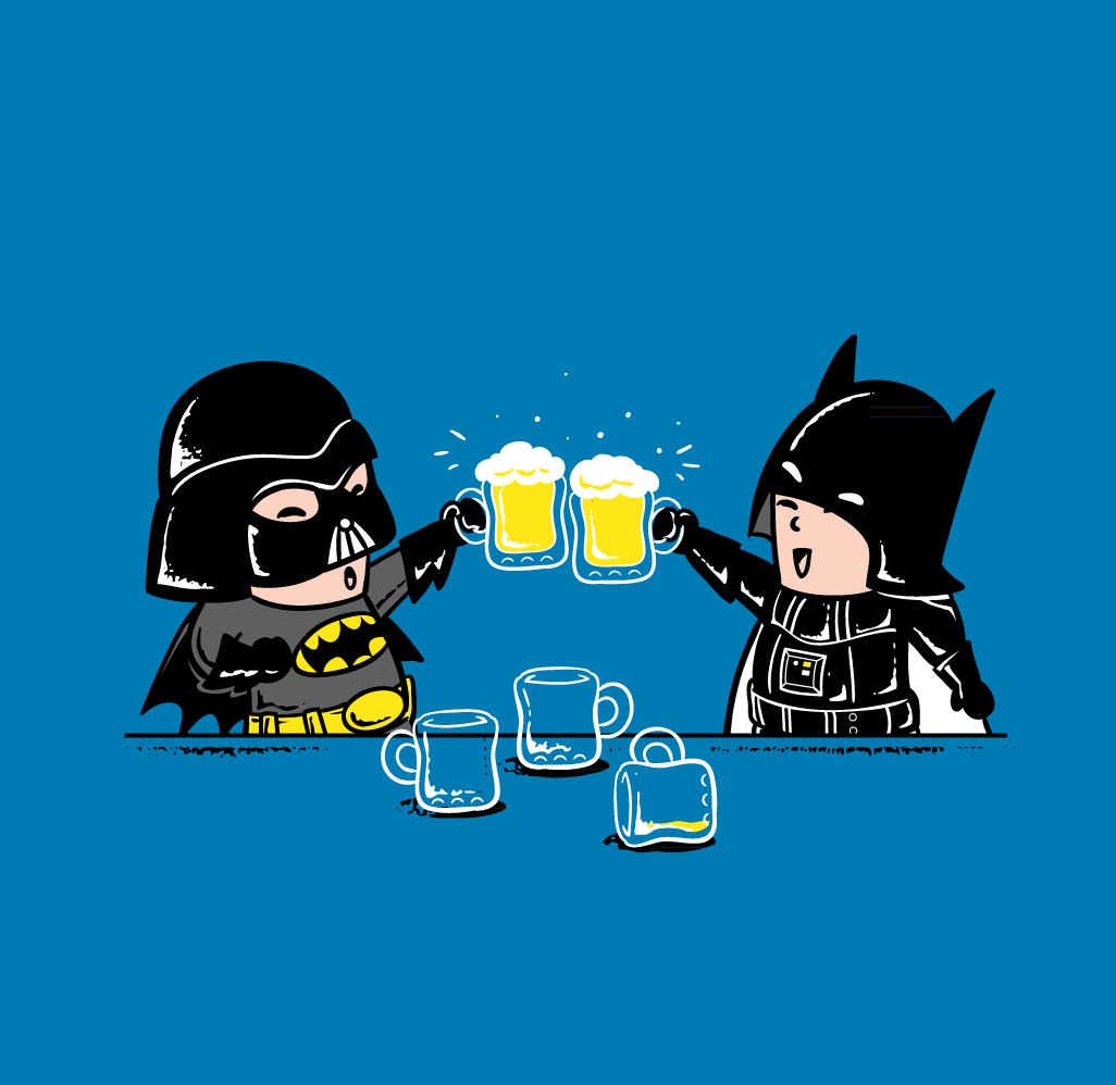Batman & Darth Vader Drinking