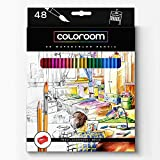COLOROOM 48 Premium Water Colored Pencils - Wood, Professional, Aquarelle, Bold, Artist Quality - Led Doesn't Break Easy - Free Paint Brush & Sharpener - Satisfaction Guaranteed