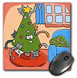 S. Fernleaf Designs Holidays Christmas Cats - Christmas Cat, Christmas Tree with Cats, Cats, Christmas, Christmas, Cat, Pets, Holidays - MousePad (mp_34020_1)