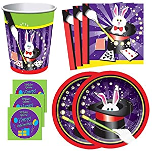 Magician Magic Show Birthday Party Supplies Set Plates Napkins Cups & More Kit for 16