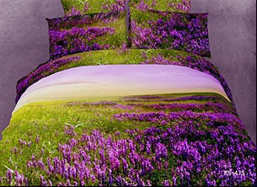 Queen Size 100% Cotton 4-Pieces 3D Purple Lavender Green Floral Prints Duvet Cover Set/Bed Linens/Bed Sheet Sets/Bedclothes/Bedding Sets/Bed Sets/Bed Covers/5-Pieces Comforter Sets (4) front-999618