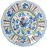 "Le Cadeaux Rooster Blue 11"" Dinner Plate"