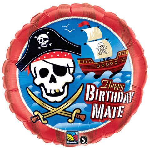 "PIONEER BALLOON COMPANY B'day Mate Pirate Ship Foil Pack, 18"", Multicolor"