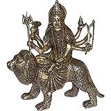 """Gottin Durga Messing-Statue Sitzend Auf L�wen H�he: 26,67 cmvon """"ShalinIndia"""""""