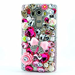 LG G Stylo Case, Sense-TE Luxurious Crystal 3D Handmade Sparkle Diamond Rhinestone Cover with Retro Bowknot Anti Dust Plug - Princess Pink Bowknot Flowers / Pink