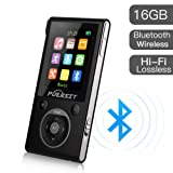 MP3 Player with Bluetooth and FM Radio,16GB Portable HIFI Lossless Sound MP3/MP4 Music Player with Pedometer/Voice Recorder for Sports,50 Hours Playback (Max expand to 128GB) (Color: Black+Silver)