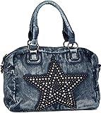styleBREAKER Jeans Bowling Bag im Vintage Look mit Nieten und Strass Stern, Schulterriemen, Damen 02012093, Farbe:Blau