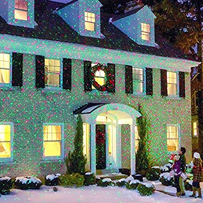 Red & Green LED Christmas Laser Light Show - Decorates Your Home With Amazing Glittering Lighting In Minutes - Best Indoor And Outdoor Decoration Lights For Any Occasion - 100% Satisfaction Guarantee