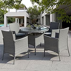 Giantex 5 Pc Patio Rattan Furniture Set Outdoor Backyard Dining Table And 4 Chairs
