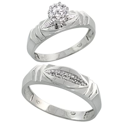 14ct White Gold 2-Piece Diamond Ring Set, 5mm Engagement Ring & 6mm Man's Wedding Band