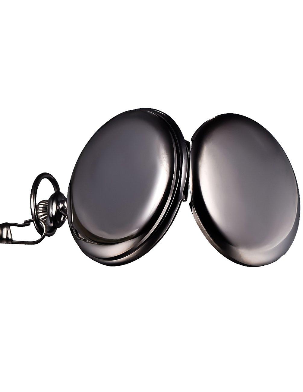 Mudder Classic Smooth Vintage Black Steel Mens Pocket Watch 4